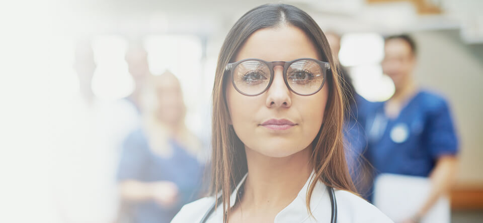 medical professional with glasses